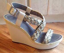 Vince Camuto Strappy Beige Platform Wedge Sandals 8.5 MINT