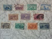 1893 - 11 Briefmarken der Columbus Exposition von 1893 in den USA Mi:73 - 83