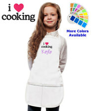 Personalized Kids Apron with I Love Cooking Embroidery Design