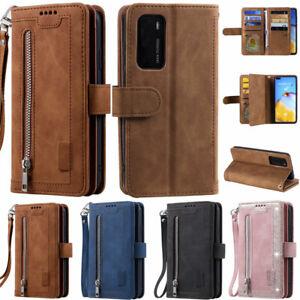 Zipper Matte Wallet Leather Flip Case Cover For Huawei P30 Lite P40 Pro P40 Lite