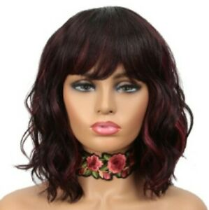 NOBLE Wigs with Bangs Ombre Wine Red Color Short Wavy Wigs with Bangs 12""
