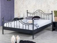 Bettgestell Doppelbett Metallbett Bettrahmen LORENA 140x200 schwarz NEU