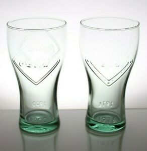 2x Retro Coca Cola McDonald's Green Glasses 125th anniversary Dates 1900 1916
