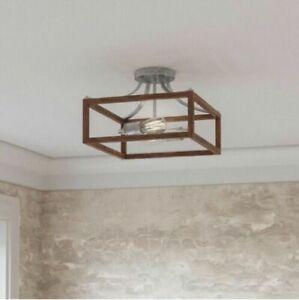 Home Decorators Boswell 12.5 in. 2-Light Galvanized Semi-Flush Mount