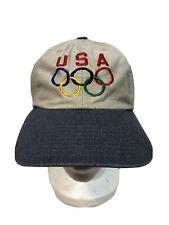Vintage USA Olympics Strapback Dad Hat Cap OlympiCap Adjustable