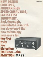 Mcintosh MR77 Original FM Tuner Brochure