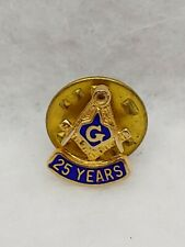Vintage Masonic 25 Years Tie Tack Lapel Hat Pin Gold Tone with Blue Enamel