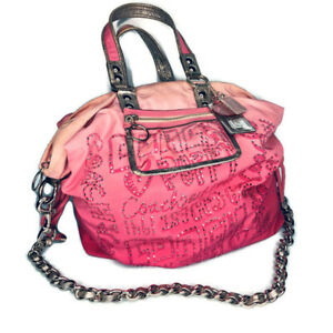 Coach Poppy Storypatch Jewel Pink Silver Tote Bag Purse Ombre Chain Strap