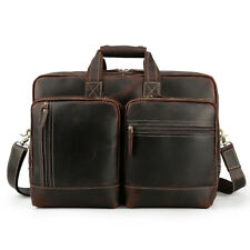 "Men Real Leather Briefcase 17"" Laptop Case Messenger Shoulder Bag Handbag TOTE"