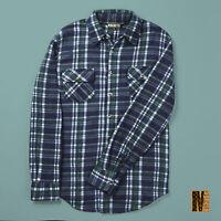 Mens Brushed Fleece Long Check Lumberjack Shirt Green Checked Shirts M L XL XXL