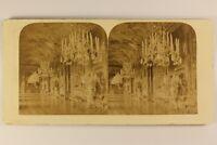 Italia Torino Palais Royal Interno Lampadario c1880 Foto Stereo Vintage Albumina