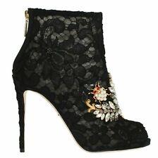 NEW $1800 DOLCE & GABBANA Shoes Black Crystal Lace Booties Stilettos EU37 /US6.5