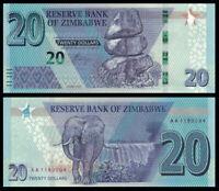 Zimbabwe 20 Dollars 2020 PREFIX AA NEW UNC