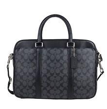 NWT COACH Men's Signature PVC Slim Laptop Briefcase F54803 Charcoal/Black $495
