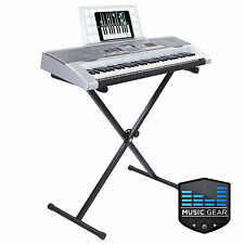 61 Key Electronic Piano Electric Organ USB Keyboard with Stand - Silver