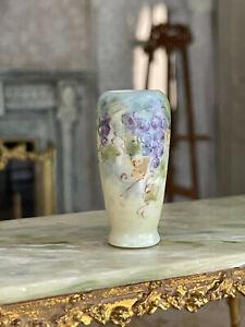 Vintage Miniature Dollhouse Artisan NiGlo Porcelain Tall Vase Hand Painted Decor