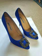 Manolo Blahnik  Hangisi Embellished Blue Satin shoes EU 37