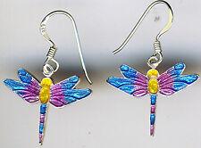 "925 Sterling Silver Multi Coloured Enamel Dragonfly Earrings Reversible (1.1/5"")"