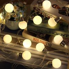 20 LED Globe Bulb Battery Warm White String Fairy Light Xmas Party Wedding Trees