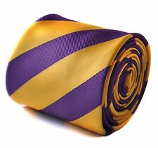 Frederick Thomas Purple & Yellow Barber Stripe Mens Tie RRP£19.99 FT1736