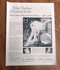 1930 J C Penney Co Dept Stores Ad Filmy Stockings of Enduring Texture