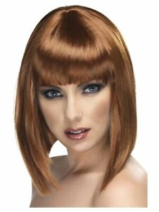 Smiffys Glam Wig Short Blunt with Fringe - Brown