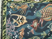 Goodwin Weavers 100% Cotton Woven Throw Tapestry Look- Tropical Fish  NWOT