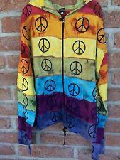 XL NEW Unisex Jacket Hoodie Nepal Rising Peace Cotton Hippie Boho Gypsy NWT