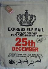 Large Canvas Hessian Father Christmas Xmas Santa Sack Gift Presents Bag Stocking