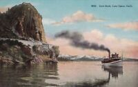 Vintage Postcard Cave Rock Lake Tahoe, Calif. 8652 With Boat