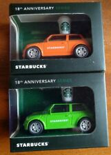 Malaysia Starbucks 2pc Mini Cooper Car 18th Anniversary Minicar = Orange + Green