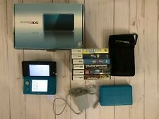 Nintendo 3DS and 6 Games, Case, Storage Case & Charger LOT ~BLUE~