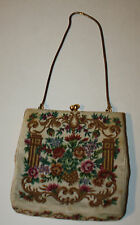 New listing Vintage Floral Tapesty Small Purse Handbag Gold Trim Snake Metal Handle