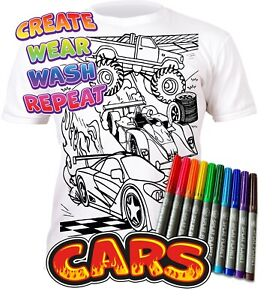 Splat Planet Colour-in Cars T-Shirt 10 Magic Pens-Colour-in and Wash Out