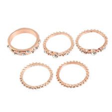 1Set Crystal Rose Gold Stackable Ring 5 Sparkly Rings Vintage Boho Jewelry Cheap