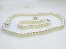 Genuine 6.5-7mm AAA+ grade perfect round white akoya pearls SET 14K solid gold