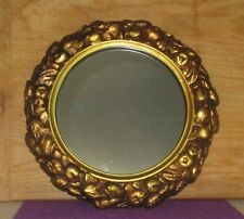 Antique Wood Framed Mirror With Applied Fruit Decorations Around