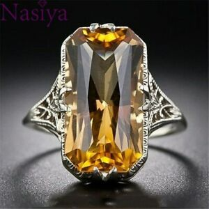 Citrine Hollowed Carved 925 Silver Rings Engagement Jewelry Wedding Ring Gifts