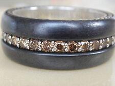 $2450 DAVID YURMAN MENS WIDE BLACK TITANIUM SILVER COGNAC DIAMOND RING