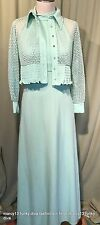 Vintage 70's Mint Green Poly Racer Back Maxi Dress Gown w Mesh Jacket Bust 30""