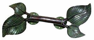 """13"""" Twin Leaf hape Door Handle Handmade Solid Brass Gate Pull Knob Door Hardware"""