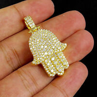 14K Yellow Gold Over Mens Round Cut D/VVS1 Pave Diamond Hamsa Hand Pendant Charm