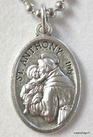 Saint Anthony of Padua Medal Religious Necklace,Silver Plated,No Tarnish Chain