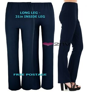 Womens NAVY Nurse Work Carer Long Leg 31inch Stretch Elasticated Trousers Pants.