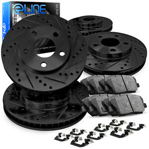 Front Rear Black Brake Rotors Drill Slot+Ceramic Pads+Hardware Kit CBC.03054.42