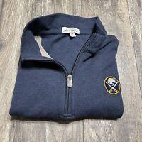 Peter Millar 1/4 Zip Pullover Buffalo Sabres Navy Blue Size Medium EUC