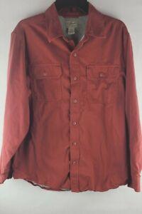 LL Bean Mens Crimson Chamois Shirt Heavy Cotton Lined Light Jacket Work Shirt