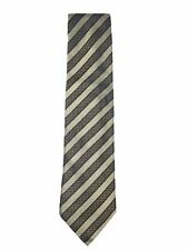 Yves Saint Laurent Mens 100% Silk Two-Tone Tan & Black Striped Tie Made in Italy