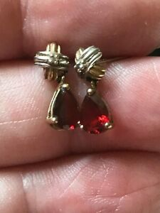 UNUSUAL SOLID 9 CARAT GOLD GARNET AND DIAMOND 2 COLOUR DROP EARRINGS ZAJ990-3