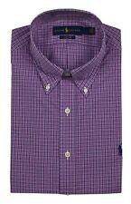 Men's POLO Ralph Lauren Button Down Dress Shirt Purple Plaid Pony Logo